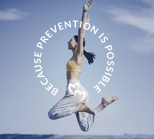 woman jumping in the air with words in a circle that say Prevention is possible